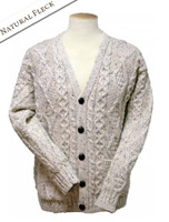 The Grandfather Cardigan - Natural White with Fleck