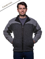 Men's Fleece Lined Wool Jacket  - Charcoal