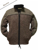 Men's Fleece Lined Wool Jacket  - Brown