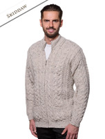 Men's Aran Zip Cable Knit Cardigan - Skiddaw