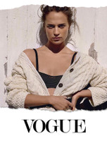 Oscar winning Actresses Alica Vikander wearing Aran Sweater Market for British Vogue - August Edition