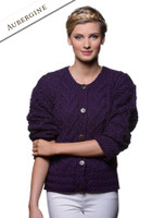 Aran Cable Knit Cardigan - Aubergine