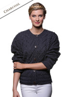 Aran Cable Knit Cardigan - Charcoal