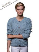 Aran Cable Knit Cardigan - Mist Marl
