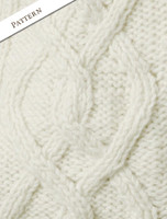 Pattern Detail of Aran Fleece-lined Hooded Jacket - Natural White