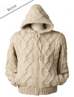 Aran Fleece-lined Hooded Jacket - Beige