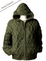 Aran Fleece-lined Hooded Jacket - Army Green