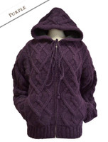 Aran Fleece-lined Hooded Jacket - Purple