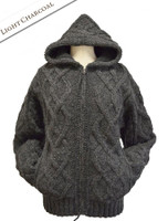 Aran Fleece-lined Hooded Jacket - Light Charcoal