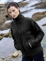 Women's Zip Aran Cardigan - Charcoal
