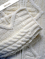 Sleeve Detail of Women's Zip Aran Cardigan - Natural White