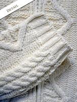 Sleeve Detail of Women's Zip Aran Cardigan - Natural White