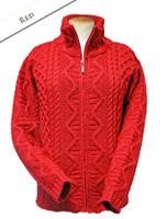 Women's Zip Aran Cardigan - Red