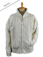 Women's Zip Aran Cardigan - White