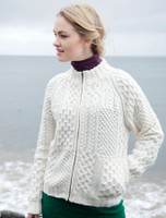 Women's Handknit Cropped Patchwork Cardigan - Natural White