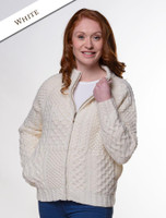 Women's Handknit Cropped Patchwork Cardigan - White