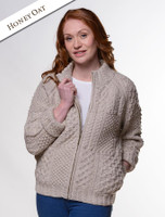 Women's Handknit Cropped Patchwork Cardigan - Honey Oat