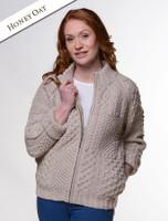 Women's Handknit Cropped Patchwork Cardigan - Honey Oat