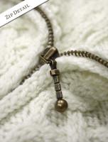 Zipper Detail of Women's Handknit Cropped Patchwork Cardigan