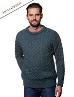 Mens Traditional Irish Wool Sweater - Moss Green