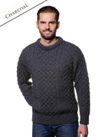 Mens Irish Aran Wool Sweater Heavyweight - Charcoal