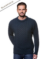 Mens Heavyweight Traditional Aran Wool Sweater - Blackwatch