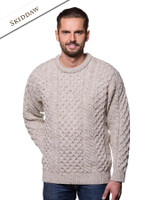 Mens Heavyweight Irish Aran Wool Sweater - Skiddaw
