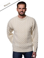 Heavyweight Mens Irish Wool Sweater - White