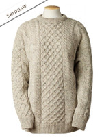 Lightweight Traditional Aran Wool Sweater - Skiddaw