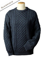 Lightweight Traditional Aran Wool Sweater - Blackswatch