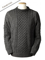 Lightweight Traditional Aran Wool Sweater - Charcoal