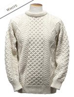 Lightweight Traditional Aran Wool Sweater - White
