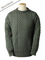 Lightweight Traditional Aran Wool Sweater - Moss Green