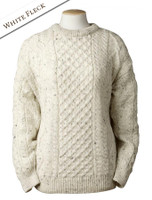 Lightweight Traditional Aran Wool Sweater - White Fleck