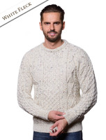 Lightweight Traditional Aran Mens Wool Sweater - White Fleck