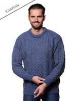 Lightweight Traditional Aran Mens Wool Sweater - Caspian