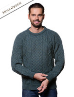 Lightweight Traditional Aran Mens Wool Sweater - Moss Green