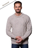 Lightweight Traditional Aran Mens Wool Sweater - Skiddaw