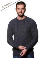 Lightweight Traditional Aran Mens Wool Sweater - Charcoal