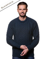Lightweight Traditional Aran Mens Wool Sweater - Blackwatch