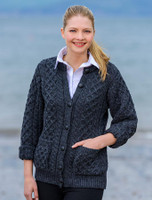 Women's Aran Wool Cardigan - Charcoal