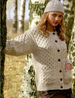 Women's Aran Wool Cardigan - White with Fleck