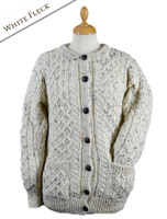 Women's Aran Wool Cardigan - White Fleck