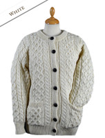 Women's Aran Wool Cardigan - Natural White