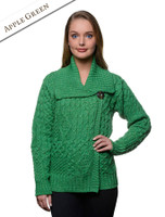 Aran Single Button Merino Cardigan - Apple Green