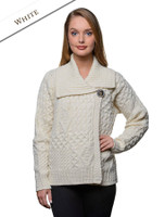 Aran Single Button Merino Cardigan - Natural White