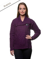 Aran Single Button Merino Cardigan - Purple