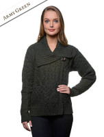 Aran Single Button Merino Cardigan - Army Green