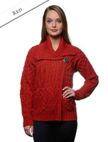 Aran Single Button Merino Cardigan - Red