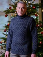 Mens Wool Turtleneck Sweater - Charcoal